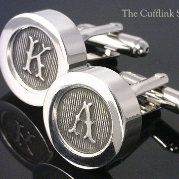 10th ANNIVERSARY GIFT - Personalized CUFFLINKS - Cast Pewter Letters - Free Fancy Cufflink Box - Free & Reduced Shipping