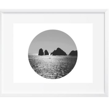 Round Vast Ocean Wall Art, Art Print, Black and White, Contemporary, 12x16