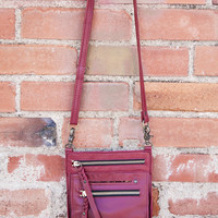 EMBRAZIO TASCA LEATHER PURSE - DARK RED WITH ANTIQUE BRASS