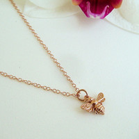SALE Tiny Rose Gold Bee Necklace, Honey Bee, Bumble Bee on 14k Rose Gold Filled Chain, Bee Jewelry, Mothers, Gift