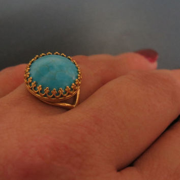 Gold crown ring, Large turquoise ring gold jewelry, December birthstone ring, Gold turquoise ring
