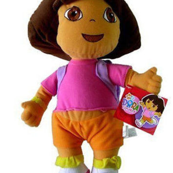 "Dora the Explorer 15"" Plush Doll Wearing Purple Mr Backpack Soft Stuffed Toy-NEW"