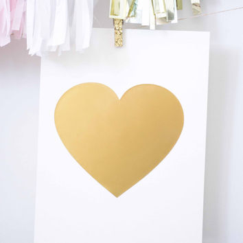 Gold foil print // gold heart, gold foil, gold print, gold poster, golden, nursery print, gold quote, heart of gold, gold decor, love quote