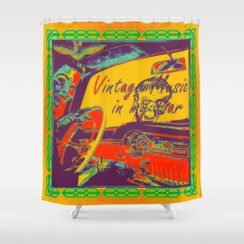 vintage music/Halloween Shower Curtain by Kathead Tarot/David Rivera