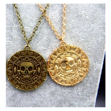 Pirates of the Caribbean Vintage Charm Alloy Aztec Coin Pendant Necklace