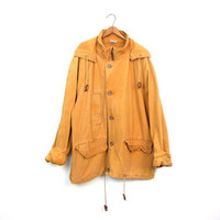 Vintage 90s Parka Coat Golden Yellow Cotton Canvas Field Jacket Zip Up Hooded Coat Oversized Utility Work Coat Mens Large