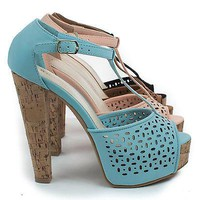 Clarice08 By Bamboo, Peep Toe Laser Cut Out T-Strap Platform Corkscrew Chunky Heels