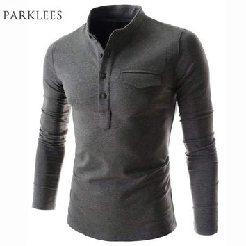 New Arrival Solid Color Polo Shirt Men 2016 Fashion Stand Collar Gray Long Sleeve Polo Shirt Casual False Pocket Henley Shirt