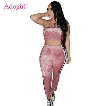 Adogirl 2018 Autumn Velvet Tracksuit for Women Strapless Crop Top Side Stripe Pants Two Piece Set Plus Size S-2XL Casual Outfits