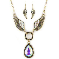 aurora borealis angel wing necklace and earrings set