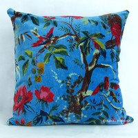 "16"" Blue Indian Cushion Pillow Covers Case Velvet Bird Print Ethnic Decorative"