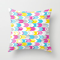 Tribal Arrows (Yellow) Throw Pillow by penny candy