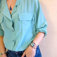90s Silk Blouse Long Sleeve Shirt Vintage Minimal Aqua Blue Button Up Silk Blouse Slouchy Loose Fit Modern Top Womens Medium Large