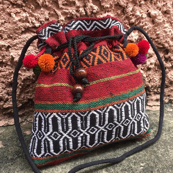 Crossbody bag pompom Festival Boho Styles Purse Aztec Tribal Cute Woven fabric Hippies Phone Case Bohemian coin pouch Drawstring women gift