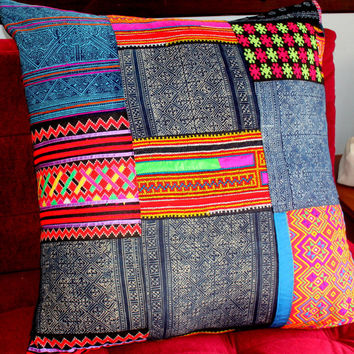"30""  Floor Pillow Vintage Hmong Embroidery Indigo Batik Patchwork Cushion Cover"