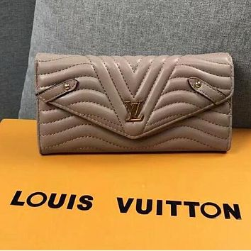 LV Louis Vuitton Fashionable Women Shopping Leather Buckle Purse Wallet Khaki