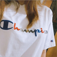 Champion Tide Brand Color Stripe Embroidered Men and Women T-shirt F0380-1