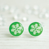 Snowflakes Studs, Green Studs, Winter Studs