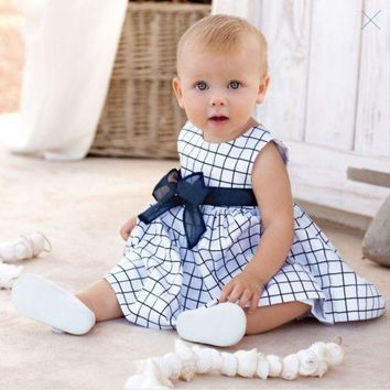 Girls Dress Baby Toddler Girl Kids Cotton Top Bow-knot Plaids Summer Dress Outfit Clothes 0-3 Years
