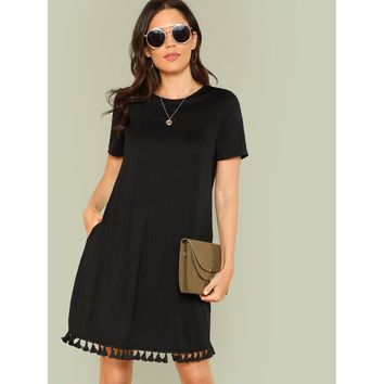 Tassel Hem Tunic Dress