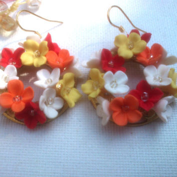Colorful jewelry - Polymer necklace and earrings - Flower wreath jewelry - Handmade