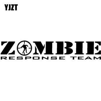 YJZT 18CMX3.4CM ZOMBIE Response Team Decals Killer Apocalypse Hunter Vehicle Graphics Car Sticker Black/Silver Vinyl S8-1153