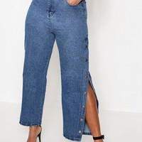 Plus Popper Side Jean | Boohoo