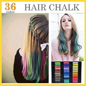 36 Colors Brief paragraph Hair Chalk Fashion Color Hair Chalk Dye Pastels Temporary Pastel Hair Extension Dye Chalk Hot Crayon