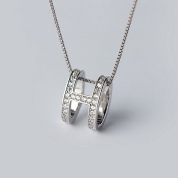 """Personality style of the letter """"H"""" oval 925 sterling silver pendant"""