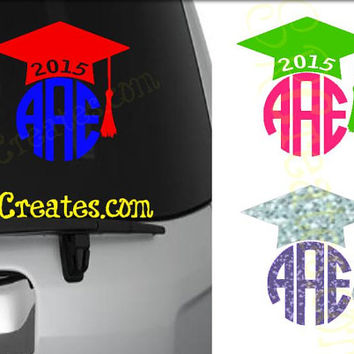 Graduation Cap Monogram Decal - Glitter Vinyl or Regular Vinyl, Many Sizes