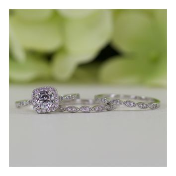 Sterling Silver Halo Cushion CZ Double Band Wedding Ring Set