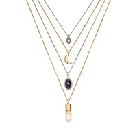 Mudd Moon, Marquise & Stone Multistrand Necklace (Silver)