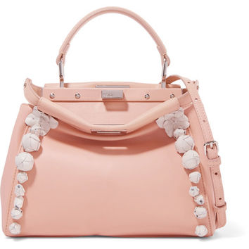 Fendi - Peekaboo floral-appliquéd leather shoulder bag