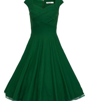 Green Cap Sleeve Zipper Back Midi Dress