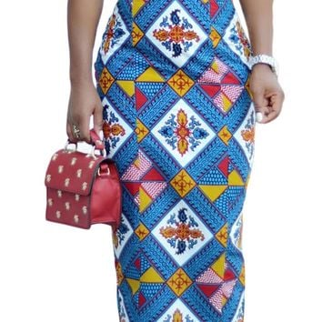 Bluish African Print High Waist Bodycon Pencil Skirt