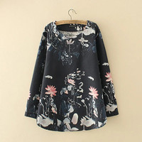 Black Flower Print Plus Top With Button