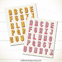 Alphabet Cross stitch pattern PDF - Modern Funny Alphabet - Xstitch Instant download - Modern Colorful Letter ABC Typographic Happy Fun