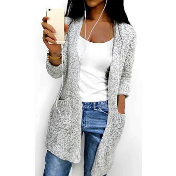 Hot 2017 Autumn Winter Women Long Sleeve loose knitting soft cardigan pocket sweater cadigan Womens Female pull femme cardigans
