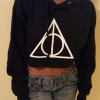 Harry Potter Inspired Deathly Hallows cropped Hoodie