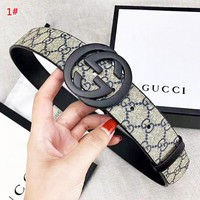 GUCCI New fashion more letter leather couple belt 1# width 3.8 cm With Box