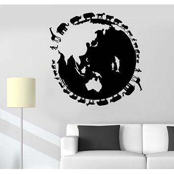 Wall Decal Planet Earth World Animals Nature Fish Vinyl Sticker (ed1702)