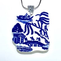 Broken China Jewelry Pendant, Willow Ware China, Transferware Sterling Silver, Blue and White Vintage China, Recycled Birthday Gift Her/Mom