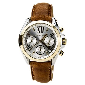 Michael Kors MK2301 Women's Bradshaw Mini Chronograph Silver Dial Leather Strap Watch