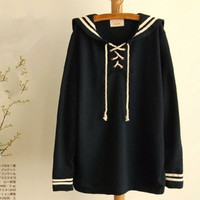 Anime Sailor Collar Uniform Sweet Lolita Women's Sweatshirt Costume Japanese Kawaii Cute Hoodies Women Pullovers Blusa