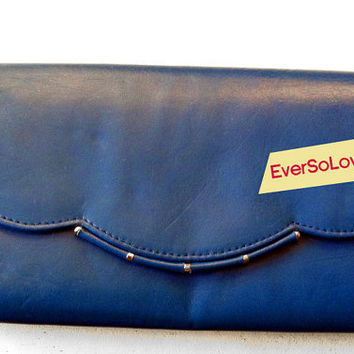 Something Blue  Vintage Dark Navy Scalloped Gold Detail Clutch Purse by EverSoLovely
