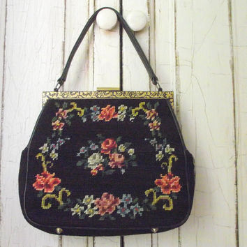 Floral Needlepoint Purse / Vintage 50s Needle Point Handbag / Black and Floral Purse / Women's Handbag / Vintage Retro Fashion
