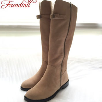 vintage design winter warm snow boots shoes women knee high boots high quality suede leather handmade casual motorcycle boots