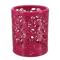Hollow Rose Flower Pattern Cylinder Pen Pencil Pot Holder Container Organizer(Multi-Color to Choose From)
