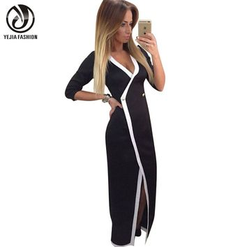 YEJIA FASHION Black White Patchwork Office Work Formal OL Dress V-neck Casual Vintage 3/4 Sleeve Long Maxi Slim Tunic Slit Dress