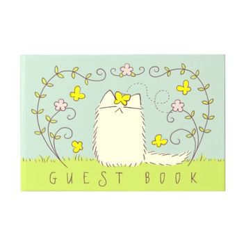 Fluffy Cat and Yellow Butterfly Custom text Guest Book
